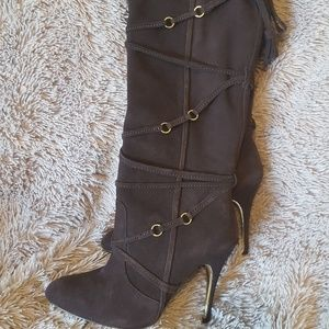 Over the knee leather heeled boots!